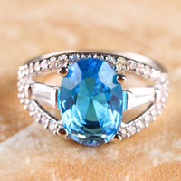 Wholesale NEW OVAL CUT BLUE amp WHITE TOPAZ SILVER RING SIZE R1