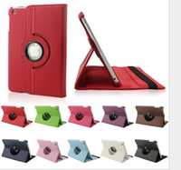 Wholesale Newest Design10 colors For iPad Mini iPad Samsung Galaxy Tab2 Tab3 Rotating Folio Leechee Leather Stand Case Cover