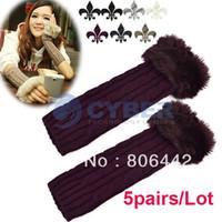 Wholesale 5pairs Korean Women Arm Warmer Faux Fur Cable Knit Fingerless Gloves Colors
