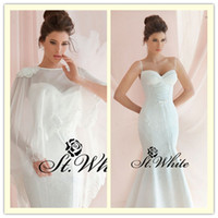 Trumpet/Mermaid Reference Images Spaghetti WOW! Hot Sexy Mermaid Spaghetti strap Sweetheart Court Train Satin Lace Wrap 2014 Wedding Gowns Woman Prom Dresses Backless Bridal Gowns