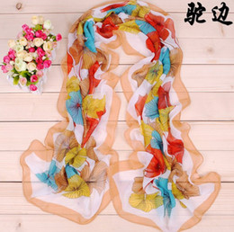 Wholesale flower chiffon Long Scarves for Women Ladies colorful fashion gingko elegant Design soft Shawls Autumn and Winter Lovely Scarf