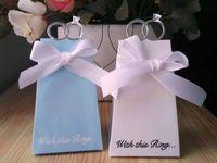 Wholesale 100 White Blue Diamond Ring Style Wedding Favor Boxes Gift Candy Box K0521