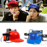 Event & Party Supplies,Hat beer novelty items - 2014 new year pieces Drinking Helmet Beer Can Holder Drinking portable hat novelty items natal gift straw sucker