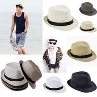 Wholesale 6 Items Unisex Straw Hats Fashion Stingy Brim Hat Panama Fedora Cap Hats Men And Women s Headwear ZDS
