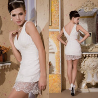 Reference Images V-Neck Elastic Satin 2014 Best Selling Sexy White Tight Sheath V Neck Mini Lace and Satin Standard code Coctail Dresses EM00408