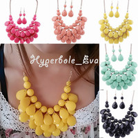 Wholesale Fashion Bubble Bib Necklace Resin Bead Gemstone Pendant Lady Choker Earrings Necklace Jewelry Set GAM