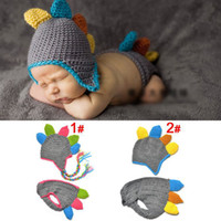 Boy Summer Crochet Hats Colorful Crochet Baby Dinosaur Hat and Diaper Photography Props Costume Set Infant Kids Crochet Beanie with Pants 1set