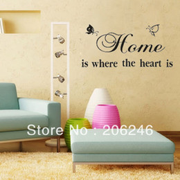 Butterfly Wall Sticker 8007 Home Is Where The Heart Is Quote Vinyl Wall Decals :65*35cm free shipping