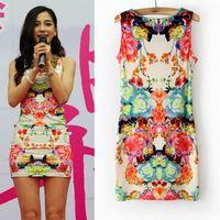 Wholesale New Fashion Women Chiffon Dresses Summer Soft Lady Floral Sleeveless Casual Dresses DHN