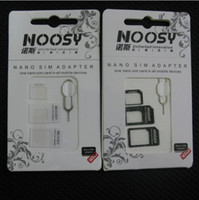 Wholesale 4 In Noosy Nano Micro SIM Card Adapter Eject Pin For iPhone S For iPhone S With Retail Box Free Ship