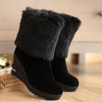 Wholesale ENMAYER8cm new fashion slope with bare feet warm in the winter snow boots Martin boots black