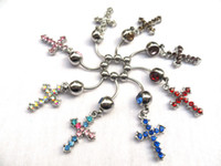 Wholesale Womens Mens Rhinestone Cross Pendant Belly Button Rings Navel Ring Body Piercing Jewelry High Quality
