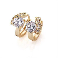 Wholesale NEW LOVELY K CT Real yellow gold filled Zircon hoop earrings Fashion jewelry
