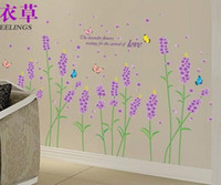 Cheap AM7002 Lavender Romantic style can remove TV setting wall stickers the bedroom decorates stickers