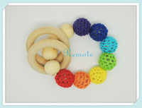 Wholesale 2014 Hot wooden toy Mommy jewelry baby Crochet nursing toy teething bracelet crochet Neo rainbow colour crochet bead NT038