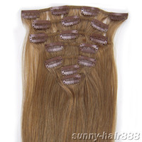 "20"" 7pcs set Clip- in hair remy Human Hair Extensions #1..."