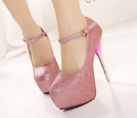 Women Pumps Spring and Fall New Style 2014 Sexy Pink Silver Dress Shoes Closed Round Toe Platform High Heels Shoes Lady's Prom Evening Party Shoes Free Shipping d78a65