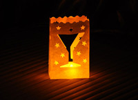 Wholesale white wine glass Candle Bags fireproof paper Luminarie Lantern Wedding Party decorations candle bags