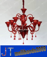 LED decorative glass art - Red K9 Crystal Glass Chandelier Modern Art Decorative Pendant Lamp Living Room Lamp D860 H800mm Lights MYY32
