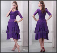 Wholesale 2014 spring fashion new design collection tea length purple chiffon mother of the bride dresses half sleeve sequins beads zipper simple