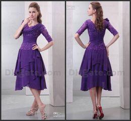 Tea Length Purple Dress