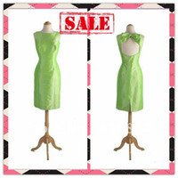 Reference Images Sleeveless Scalloped Real Picture Fashion Hot Lime Green Round Collar Sexy Backless Bow Sheath Taffeta Bridesmaid Women Party Dress Dresses Gowns