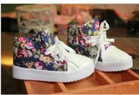Wholesale Fashion Children Athletic Shoes Side Part Flower Floral Individuality Baby Kids Canvas Shoes Boys Girls Sneaker QS511 Clear Stock Random