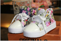 Wholesale Fashion Children Athletic Shoes Side Part Flower Floral Individuality Baby Kids Canvas Shoes Year Boys Girls Sneaker pair QS511