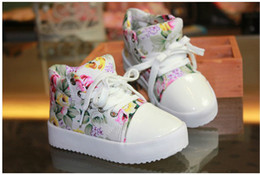 Wholesale EMS Fedex Shipping Children Athletic Shoes Side Part Flower Floral Individuality Baby Kids Sport Canvas Shoes Year Boys Girls Sneaker