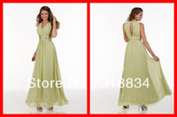 Reference Images Sleeveless V-Neck Modest Lime Green Chiffon Long Bridesmaid Dresses Beach Design V-Neck Wide Straps Open Back Ruched Prom Party Dress Gown F-22593