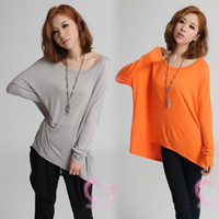 Women Cotton Round Fashion Lady Asymmetric Hem Loose Oversized T Shirt Tee Blouse Long Sleeve Top 12970