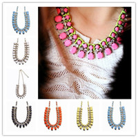 Wholesale Lady Bubble Bib Necklace Alloy Resin Pendant Statement Chain Chokers for Party Give Present Gift GBA