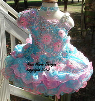 Reference Images Girl crystals 2014 Cute Little Girls Cupcake Glitz Pageant Dresses Flower Beaded Short Organza Formal Little Girl Pageant Dress Pageant Gown