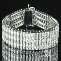 Wholesale EXCLUSIVE REAL DIAMOND MENS SOLITAIRE CUT VVS2 K WHITE GOLD BRACELET