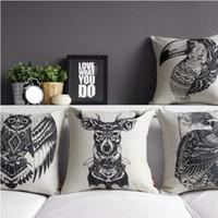 Wholesale 4pcs creative black and white retro totem thick cotton pillow cushions cushion