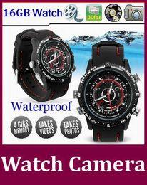 Enregistrement vidéo cachée en Ligne-16gb Spy montre-bracelet étanche caméra de vidéosurveillance mini-vidéo DVR caché enregistrement 30fps bonnes 15pcs qualité / lot DHL gratuit