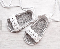 Wholesale White crochet sandals CM soft bottom toddler shoes Manual knitting sandals Cheap summer barefoot sandals baby wear pair