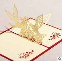 Wholesale Greeting Cards Creative D stereo bird and tree DIY love friendship and blessing cards