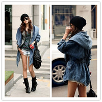 Wholesale Fashion Women Lady Cool Denim Trench Coat Hoodie Hooded Outerwear Jean Jacket