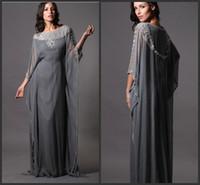 Cheap Reference Images 2014 dubai kaftan dress Best Scoop Chiffon grey chiffon prom dress