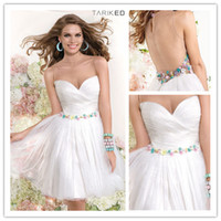 Reference Images Tulle Crew 2014 New White Tulle Graduation Dresses Sheer Crew Neck Sweetheart Short Mini Dress Homecoming Dresses with flowers belt 90368 by Tarik Ediz
