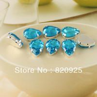 aquamarine stone - 28 X Aquamarine Blue Rhinestone Teardrop Stone Flatback Sew On Sewing x18mm