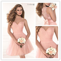 Reference Images Tulle Crew 2014 Pink Graduation Dresses Sheer Crew Neck Sweetheart Beaded Hollow Back Short Ball Gown Mini Homecoming Dresses Tarik Ediz 90375 with Bow