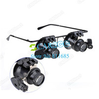 Wholesale 20X Eyeglasses Jeweler Watch Repair Magnifier Magnifying LED Light Glass Loupe Lens Lamp