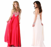 Wholesale HQ Modern Design Beaded Bust Evening Gowns Sweetheart Sparking Crystals Patterns Sheer Chiffon Terani Prom Dresses