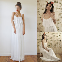 A-Line Reference Images Spaghetti Summer Fashion 2014 Bohemian Spaghetti Straps Long Wedding Dress Chiffon Lace Floor Length A-line Boho Bridal Dresses Gowns Free Shipping