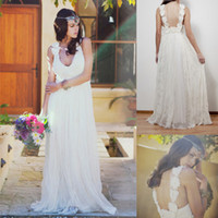 A-Line Reference Images V-Neck Bohemian 2014 Beach Deep V-neck Flowers Backless Long Wedding Dress Tulle Lace Floor Length A-line Romantic Boho Bridal Dresses Gowns Summer