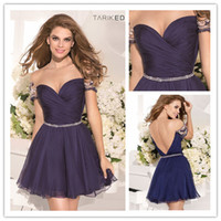 Wholesale 2014 Dark Navy Graduation Dresses Sheer Crew jewelry Pearls Short Sleeves A line Mini Homecoming Dresses Tarik Ediz with beaded belt