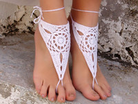 Hotel Shoe Decorations Black Fashion jewelry,Tide anklets,Barefoot sandles, WHITE fashion jewelry,Wedding beach party crochet barefoot sandles,foot jewelry.10pairs 20pcs