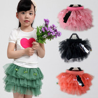 Free Shipping Girls' Skirt Multi- layer cake skirt with bow 3...
